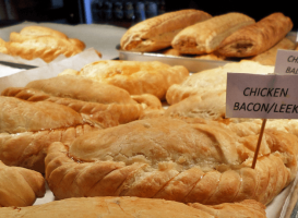 Freshly baked Cornish pasties on the Plymouth Barbican uk England